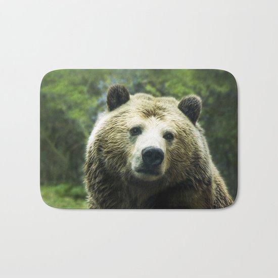 Big Brown Bear Grizzly Wildlife Forest Bath Mat
