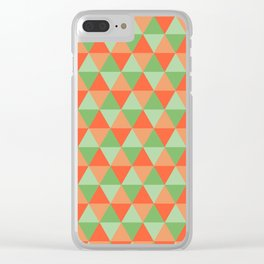 Retro Pattern Triangles Orange/Green Clear iPhone Case