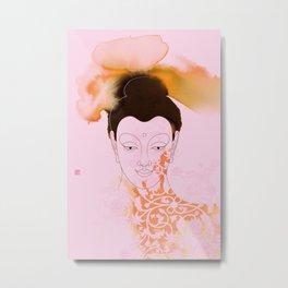 Pink Gautama Buddha Metal Print