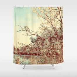 Hello Spring! (White Cherry Blossom by the Lake) Shower Curtain