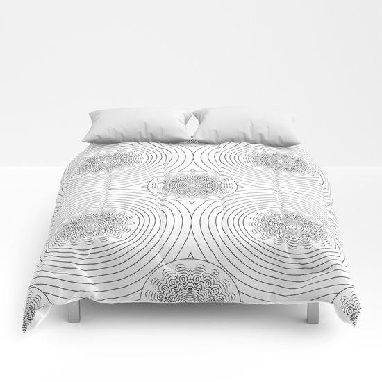 filigree black mandala Comforters