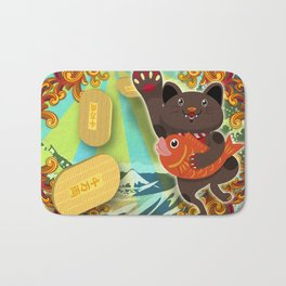 Beckoning cat:Black Bath Mat