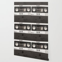 Cassette Tape Black And White #decor #homedecor #society6 Wallpaper