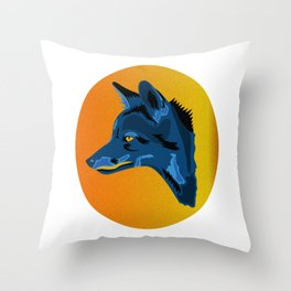Blue Camouflage Fox - Abstract Animal on White Throw Pillow