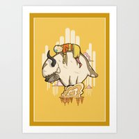 appa Art Prints featuring Aang and Appa by ArtPhish