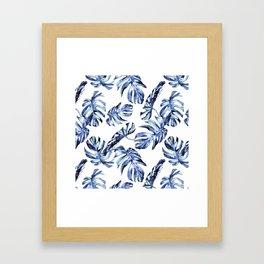 Blue Palm Leaves Framed Art Print