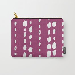 Magenta pink white abstract geometrical brushstrokes Carry-All Pouch