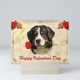 Saint Bernards Happy Valentines Day. (Painting.) Mini Art Print