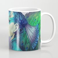 peacock Mugs featuring Peacock Queen by Artgerm™