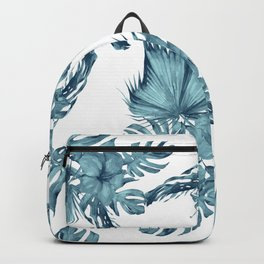 Tropical Palm Leaves Hibiscus Flowers Blue Backpack