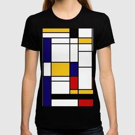 Primary Colors Geometric Pattern Fabric - Mondrian Fabric - Bauhaus Style Lines Home Decor Cotton T-shirt