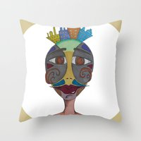 moustache Throw Pillows featuring Moustache by BNK Design