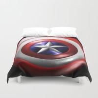 shield Duvet Covers featuring Cap's Shield by DeVilleTrades