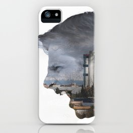 Angry shouting man face on cityscape iPhone Case