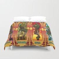 teenage mutant ninja turtles Duvet Covers featuring Teenage Mutant Ninja Turtles TMNT by Brian Hollins art