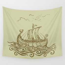 Viking ship Wall Tapestry