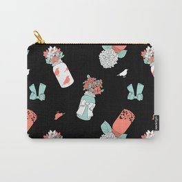 Coral Mint Mason Jars Carry-All Pouch