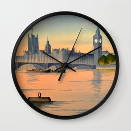 Westminster And Big Ben From The River Thames London Wall Clock