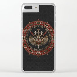 Gungnir - Spear of Odin Black and Red Leather and gold Clear iPhone Case
