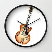 guitar Wall Clocks featuring Guitar by Bridget Davidson
