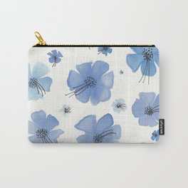 Periwinkle Blue Flower Garden Carry-All Pouch