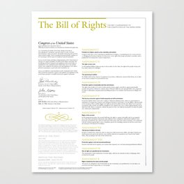 The Bill of Rights (extended version) Canvas Print