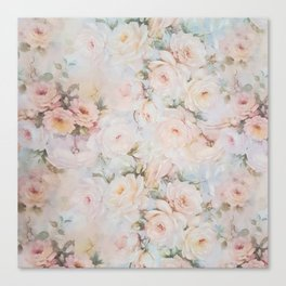 Vintage romantic blush pink ivory elegant rose floral Canvas Print