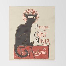 A French Ninja Cat (Le Chat Ninja) Throw Blanket