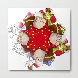 Santa Claus Mandala Metal Print