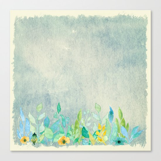 flowers in a meadow - Floral watercolor illustration Canvas Print
