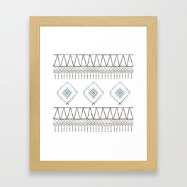Blue Beige Aztec Framed Art Print