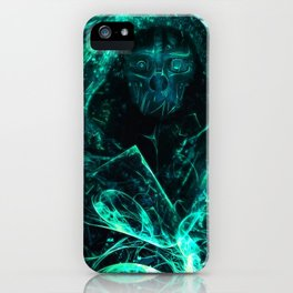 Enthralling Intriguing Turquoise Ghastly Dystopian Masked Man Ultra HD iPhone Case