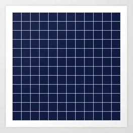 Navy Blue Grid Art Print