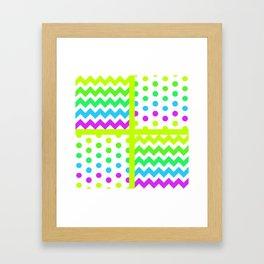 White/Multicolor Cheveron/Polkdot 1 Pattern Lime Green Cyan Magenta Vibrant Zigzag Framed Art Print