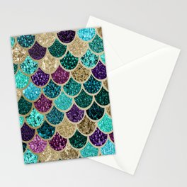 Mermaid Scales Decor, Teal, Purple, Gold Stationery Cards