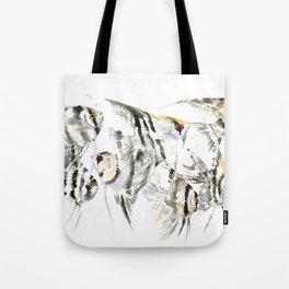 Fish Zebra Design, Angelfish aquarium design, underwater scene, black and white Tote Bag