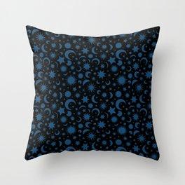 Celestial Kilim in Black + Teal Throw Pillow