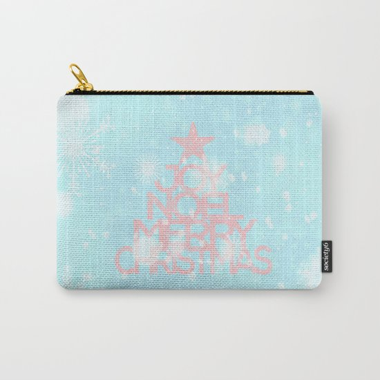 Joy,Noel,Merry Christmas and Star pattern - pink on aqua Carry-All Pouch