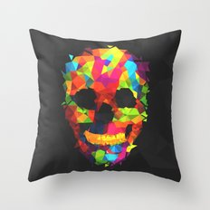 Meduzzle: Colorful Geometry Skull Throw Pillow