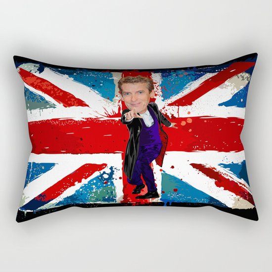 12th Doctor who Egg Head Caricature art Rectangular Pillow
