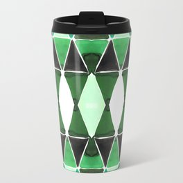 Art Deco Triangles Green Travel Mug