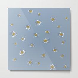 Daisies in powder blue Metal Print
