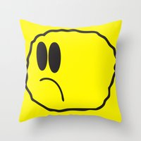 coldplay Throw Pillows featuring Lonely Meatball - Yellow by kiwimonk