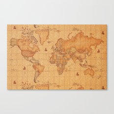 World Map LeaTher Canvas Print