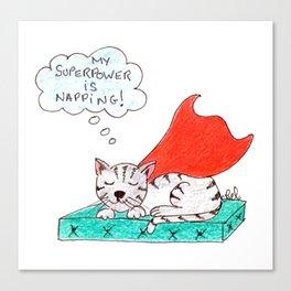 Super cat napping Canvas Print