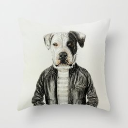 dog in leather Throw Pillow