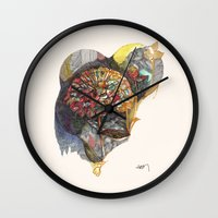 notebook Wall Clocks featuring notebook flora by Hayley Powers Studio
