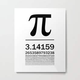 Pi Typography Art Metal Print