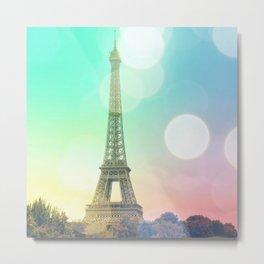 Paris. : Pastel Rainbow Bokeh Metal Print