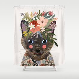 Siamese Cat with Flowers Shower Curtain